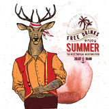 Illustration of pirate deer on textured background in vector. Watercolor element. Stock Images
