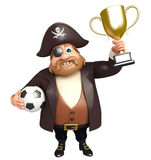 illustration of pirate with football and trophy royalty free illustration