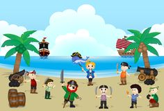 Illustration of Pirate kids on beach. Pirates kids on the beach with background ocean, ship and whale Royalty Free Stock Image