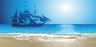 Illustration of a pirate ship. Old Ship Sailing Open Seas royalty free illustration