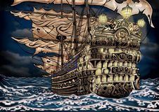 Illustration of pirate ship royalty free illustration