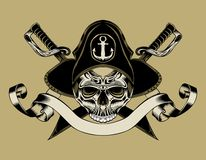 Illustration of pirate skull Royalty Free Stock Photography