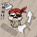 Illustration of a pirate skull wearing a bandana. Vector illustration of a pirate skull wearing a bandana and a broken anchor Stock Photos