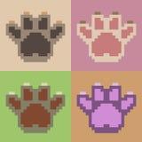 Illustration pixel art animal paw Stock Photo