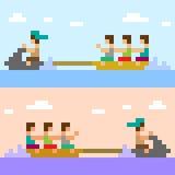 Illustration pixel art banana boat. Illustration vector square pixel art Vector Illustration