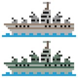 Illustration pixel art battleship. Illustration vector square pixel art Royalty Free Illustration