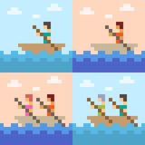 Illustration pixel art boat sea. Illustration vector square pixel art Royalty Free Illustration