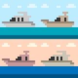 Illustration pixel art boat yacht. Illustration vector square pixel art Royalty Free Illustration