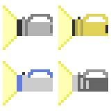 Illustration pixel art flashlight. Illustration vector isolate icon pixel art Vector Illustration