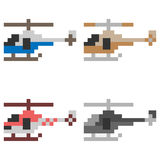 Illustration pixel art helicopter. Illustration vector isolate pixel art Royalty Free Stock Photography