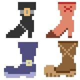 Illustration pixel art icon boots. Illustration vector isolate icon pixel art Vector Illustration