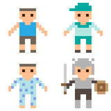 Illustration pixel art icon boy Stock Photos