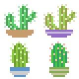 Illustration pixel art icon cactus pot. Illustration vector isolate icon pixel art Stock Illustration