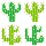Illustration pixel art icon cactus. Illustration vector isolate icon pixel art Stock Illustration