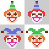 Illustration pixel art icon clown face Royalty Free Stock Photo