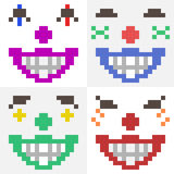 Illustration pixel art icon clown face Royalty Free Stock Images