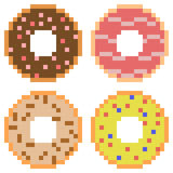 Illustration pixel art icon donut. Illustration vector isolate icon pixel art Stock Illustration