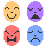 Illustration pixel art icon emotion mask Royalty Free Stock Photos