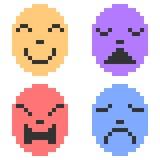 Illustration pixel art icon emotion mask Royalty Free Stock Photos