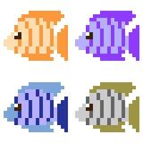 Illustration pixel art icon fish. Illustration vector isolate icon pixel art Vector Illustration