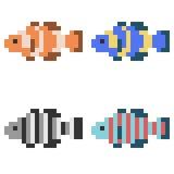 Illustration pixel art icon fish. Illustration vector isolate icon pixel art Stock Illustration