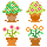 Illustration pixel art icon flower pot. Illustration vector isolate icon pixel art Stock Illustration