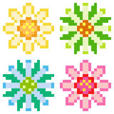Illustration pixel art icon flower. Illustration vector isolate icon pixel art Stock Illustration