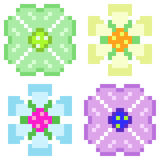 Illustration pixel art icon flower. Illustration vector isolate icon pixel art Vector Illustration
