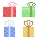Illustration pixel art icon gift. Illustration vector isolate icon pixel art Vector Illustration