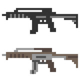 Illustration pixel art icon gun assault rifle Stock Image