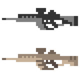 Illustration pixel art icon gun assault rifle Stock Photography