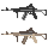 Illustration pixel art icon gun assault rifle Stock Images