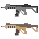 Illustration pixel art icon gun assault rifle Royalty Free Stock Photos