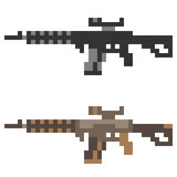 Illustration pixel art icon gun assault rifle Stock Photos