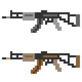 Illustration pixel art icon gun assault rifle. Illustration vector isolate icon pixel art Vector Illustration