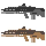 Illustration pixel art icon gun assault rifle. Illustration vector isolate icon pixel art Stock Illustration