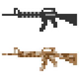 Illustration pixel art icon gun assault rifle Royalty Free Stock Images