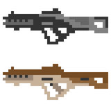 Illustration pixel art icon gun assault rifle. Illustration vector isolate icon pixel art Royalty Free Illustration