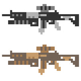 Illustration pixel art icon gun assault rifle Royalty Free Stock Photography