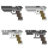 Illustration pixel art icon gun. Illustration vector isolate icon pixel art Stock Illustration