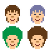Illustration pixel art icon hairstyle man. Illustration vector isolate icon pixel art Vector Illustration