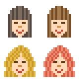 Illustration pixel art icon hairstyle woman. Illustration vector isolate icon pixel art Royalty Free Illustration