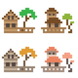 Illustration pixel art icon house. Illustration vector isolate icon pixel art Royalty Free Illustration