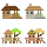 Illustration pixel art icon house. Illustration vector isolate icon pixel art Vector Illustration