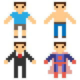 Illustration pixel art icon man. Illustration vector isolate icon pixel art Stock Illustration