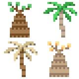Illustration pixel art icon plam tree. Illustration vector isolate icon pixel art Vector Illustration