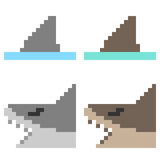 Illustration pixel art icon shark. Illustration vector isolate icon pixel art Stock Illustration