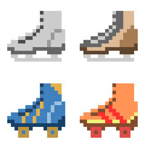 Illustration pixel art icon skate. Illustration vector isolate icon pixel art Stock Illustration