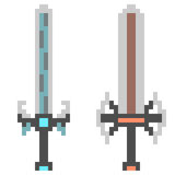 Illustration pixel art icon sword fantasy Stock Photos