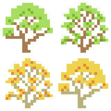Illustration pixel art icon tree. Illustration isolate icon pixel art Vector Illustration